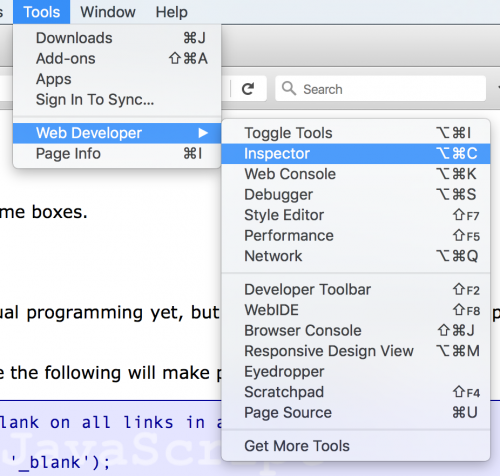 FireFox Developer Tools Web Inspector