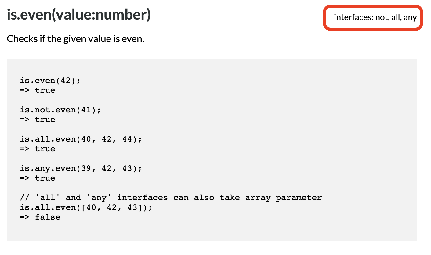 is.js Documentation Example with Interfaces Highlighted